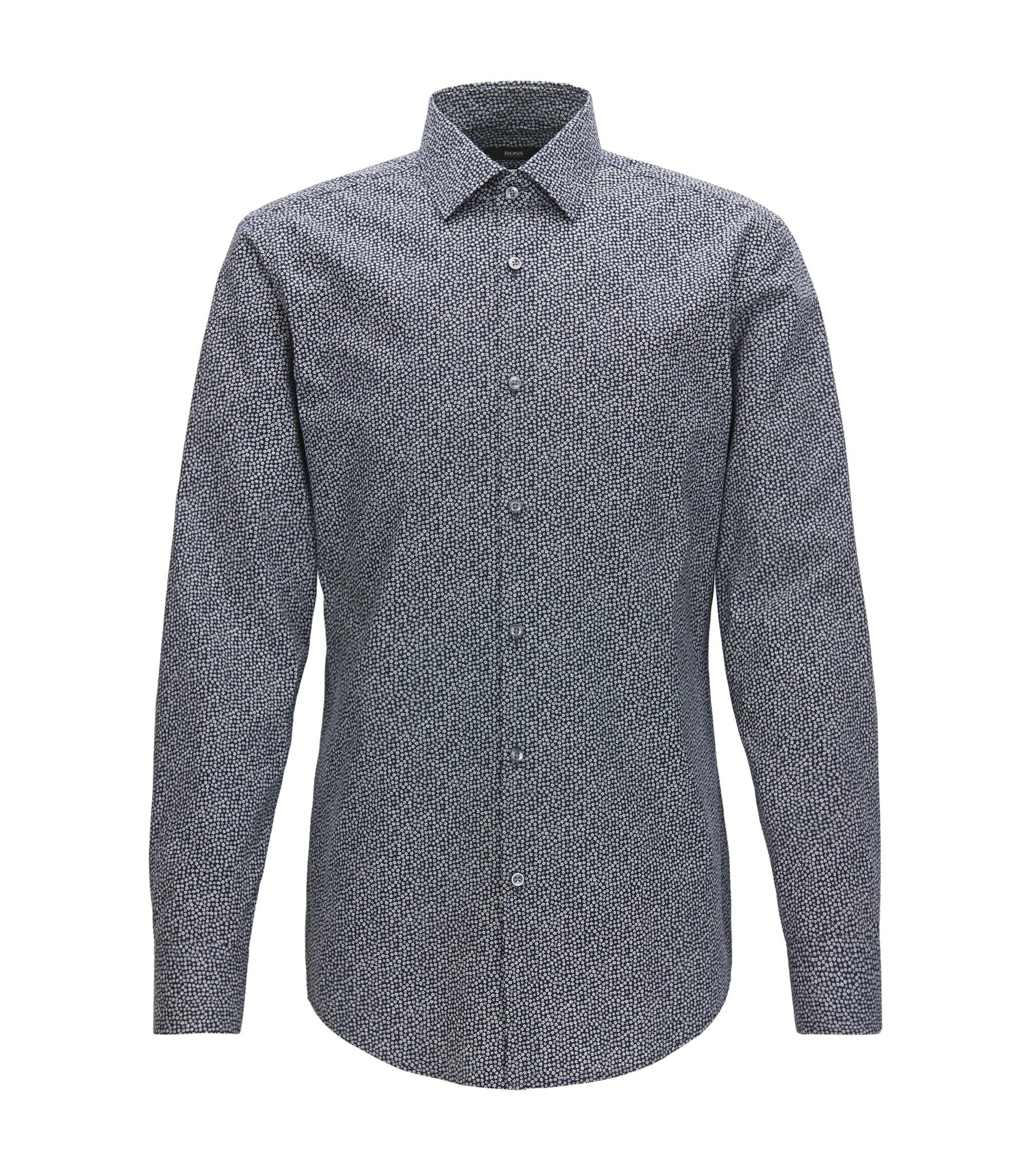 Slim-fit overhemd van katoen met microdessin, Donkerblauw