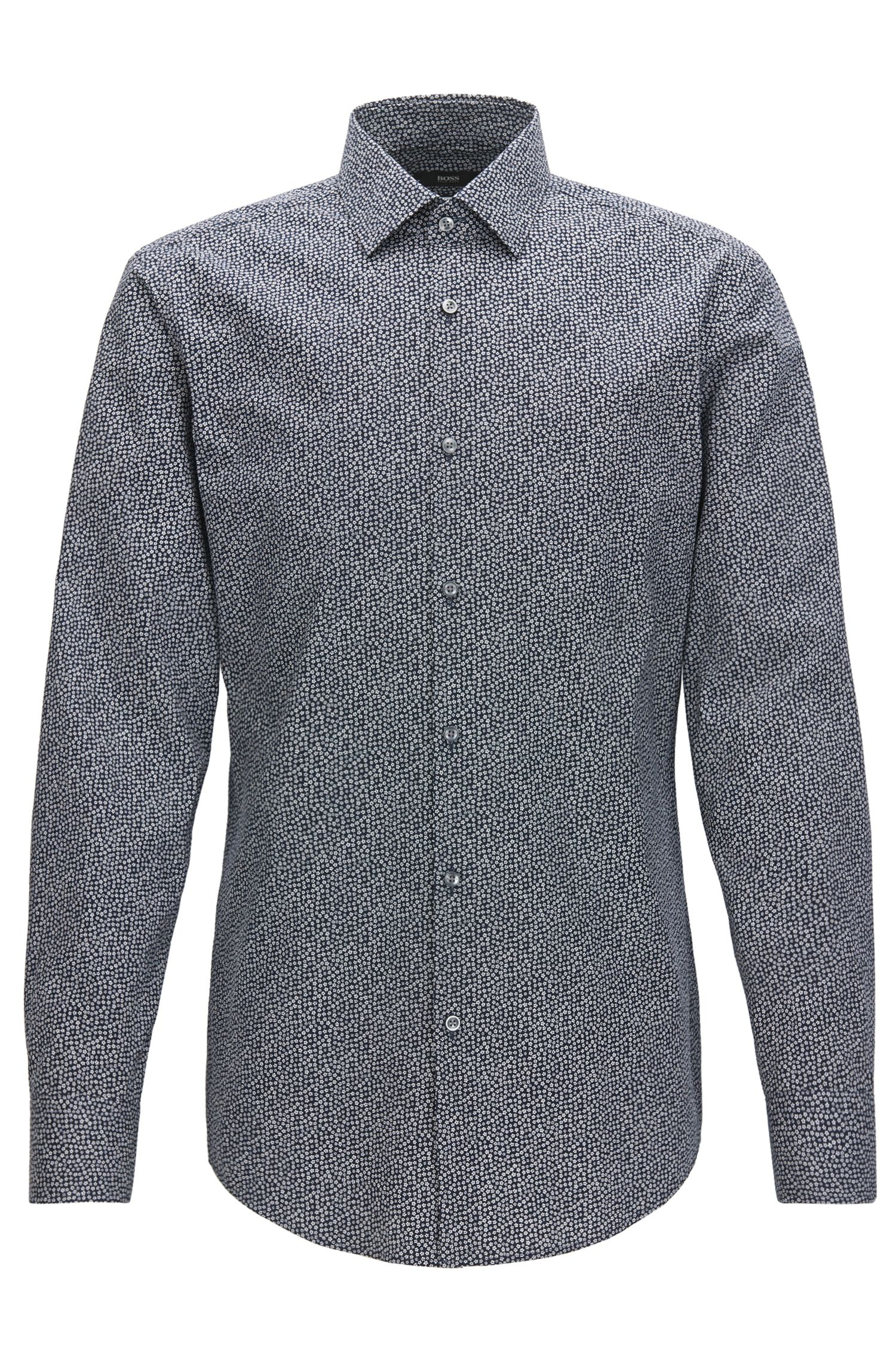 Slim-fit cotton shirt in a micro pattern