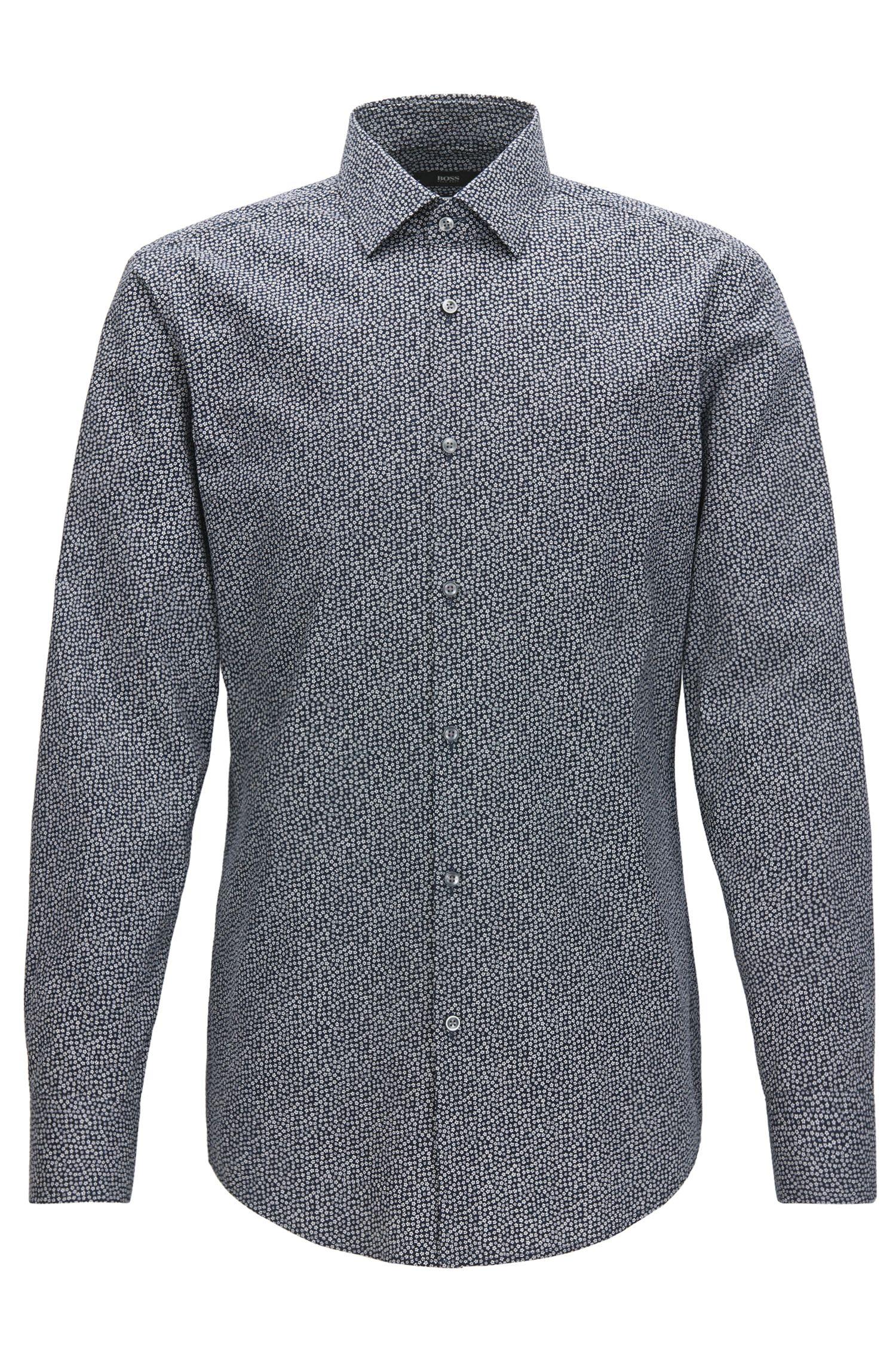 Chemise Slim Fit en coton à micro-motif