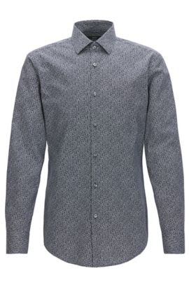 Slim-fit cotton shirt in a micro pattern, Dark Blue