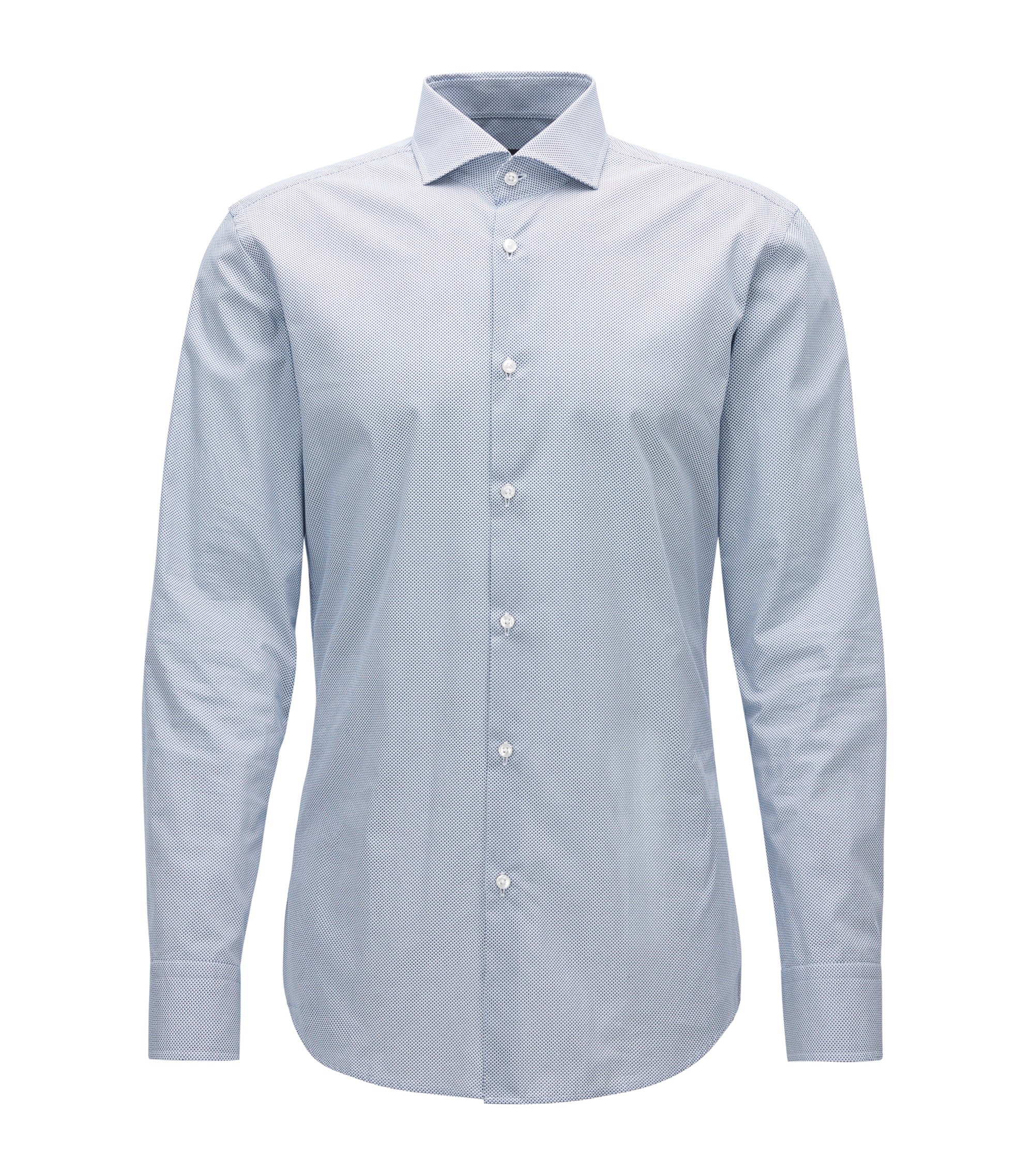 Slim-fit shirt in micro-pattern Italian cotton, Dark Blue