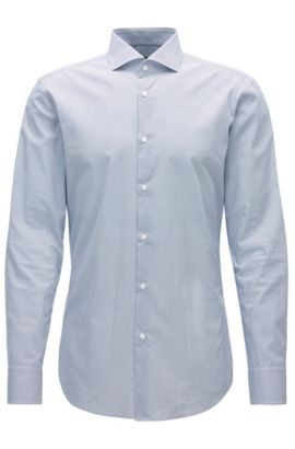 Slim-fit shirt in micro-pattern cotton, Dark Blue