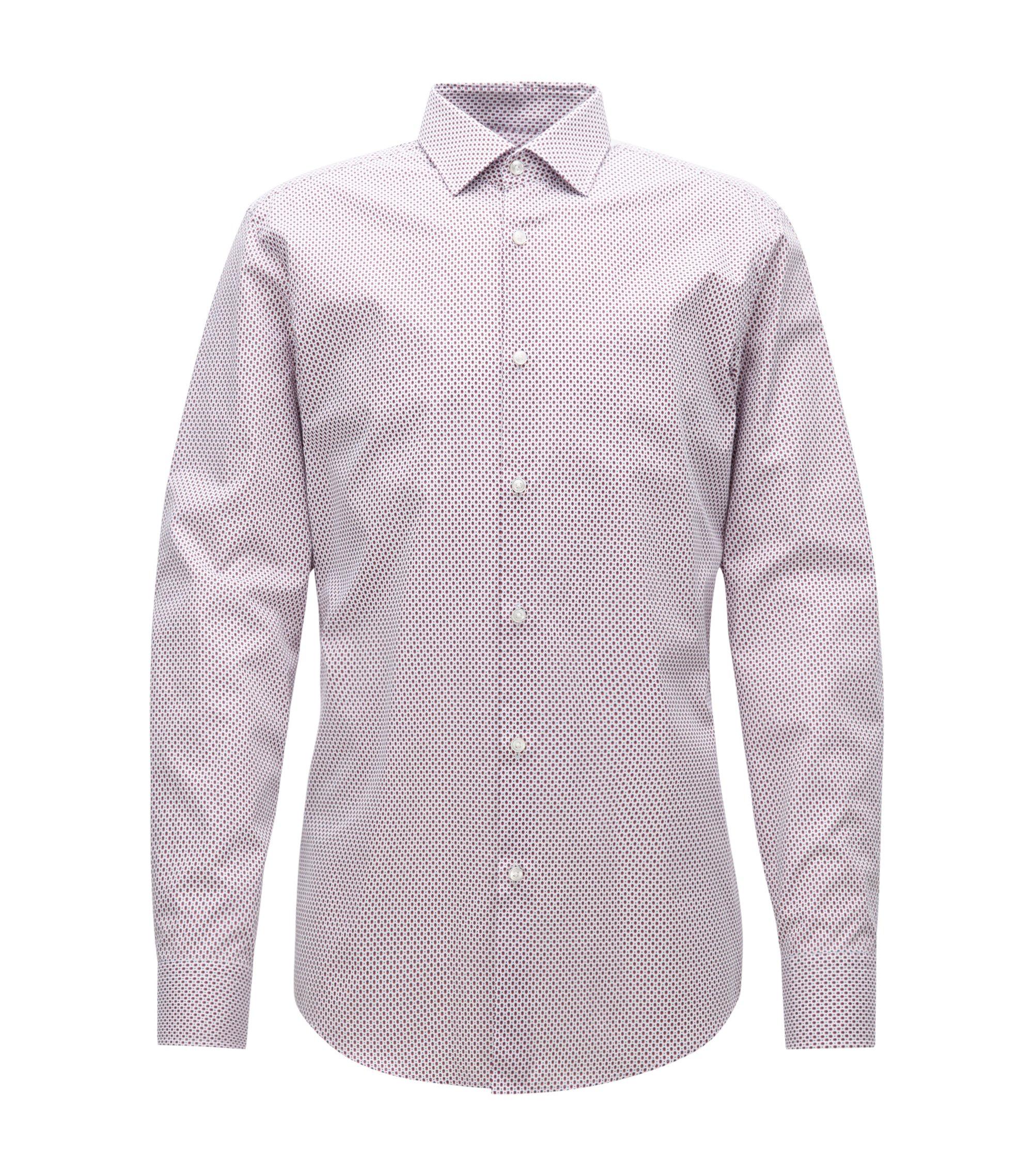 Camicia slim fit in popeline a disegni realizzato in Italia, Rosso