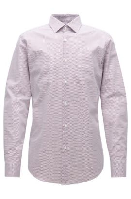 Slim-fit shirt in two-tone poplin, Red