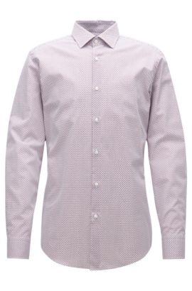 Zweifarbiges Slim-Fit-Hemd aus Baumwoll-Popeline, Rot