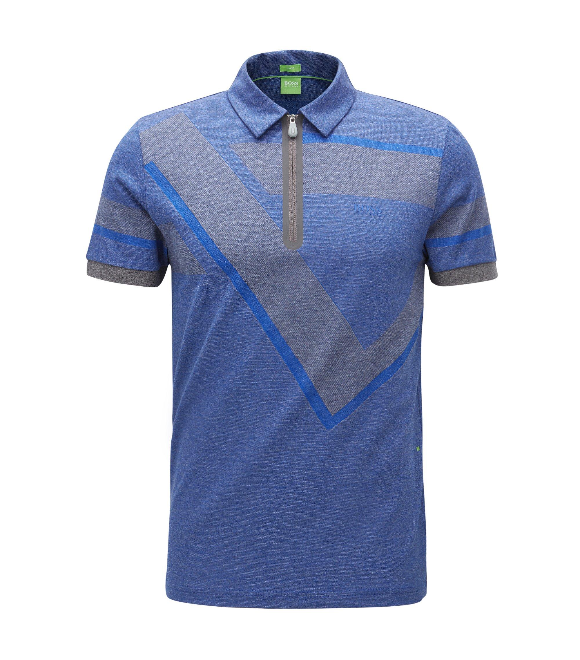 Strukturiertes Slim-Fit Poloshirt aus Oxford-Baumwolle mit Troyer-Kragen, Blau