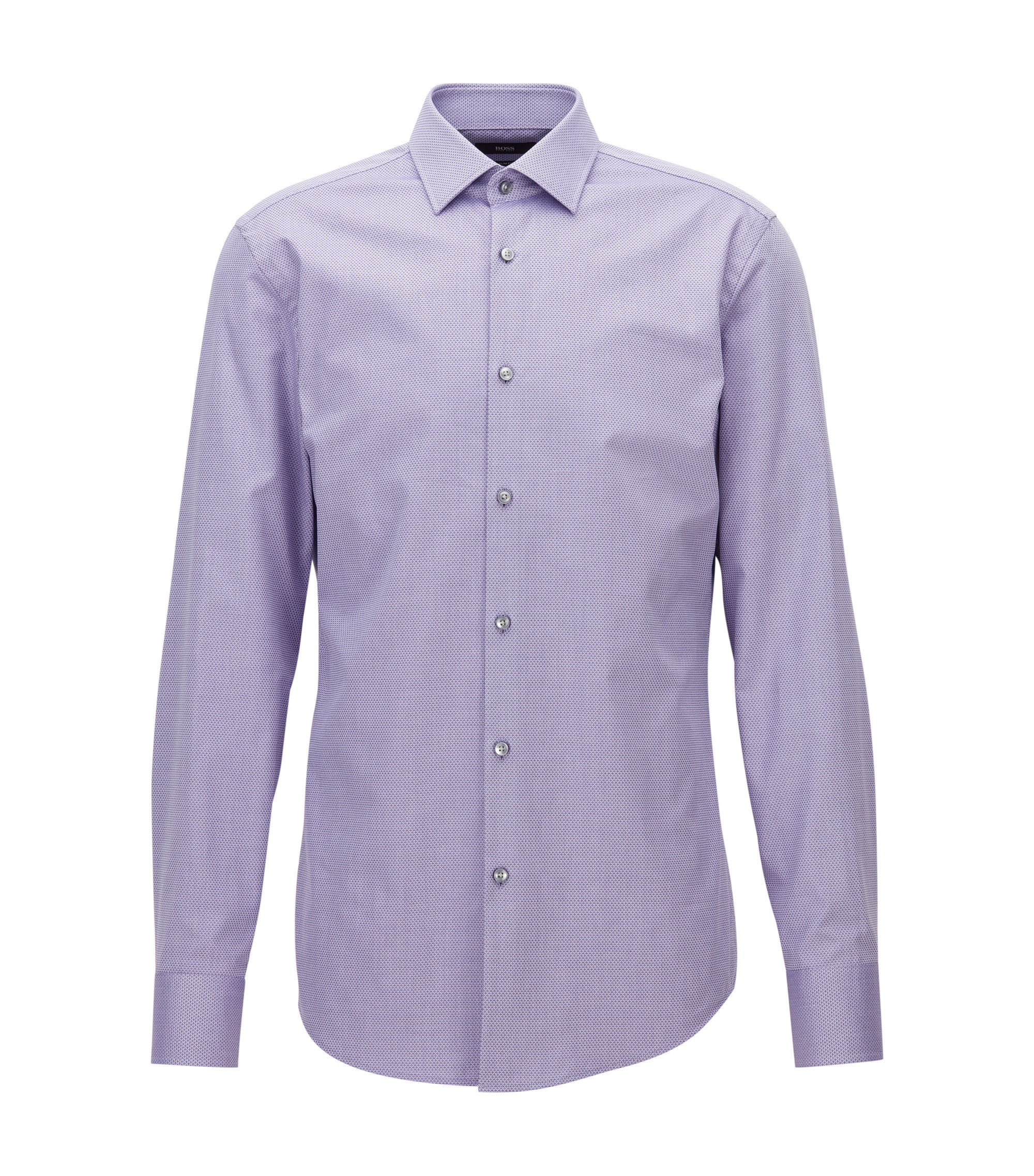 Slim-fit shirt in micro-structured cotton, Purple