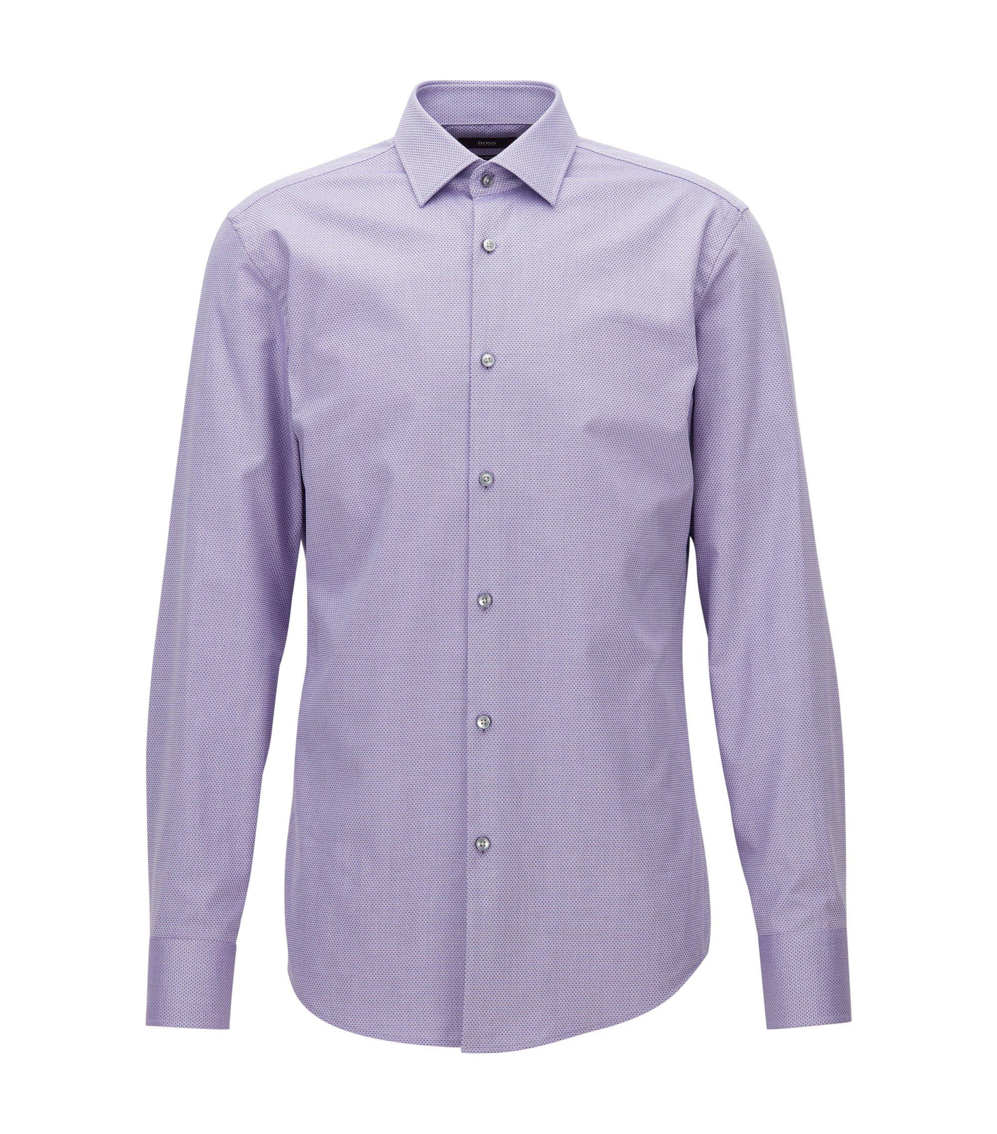 Slim-Fit Hemd aus dezent strukturierter Baumwolle, Lila