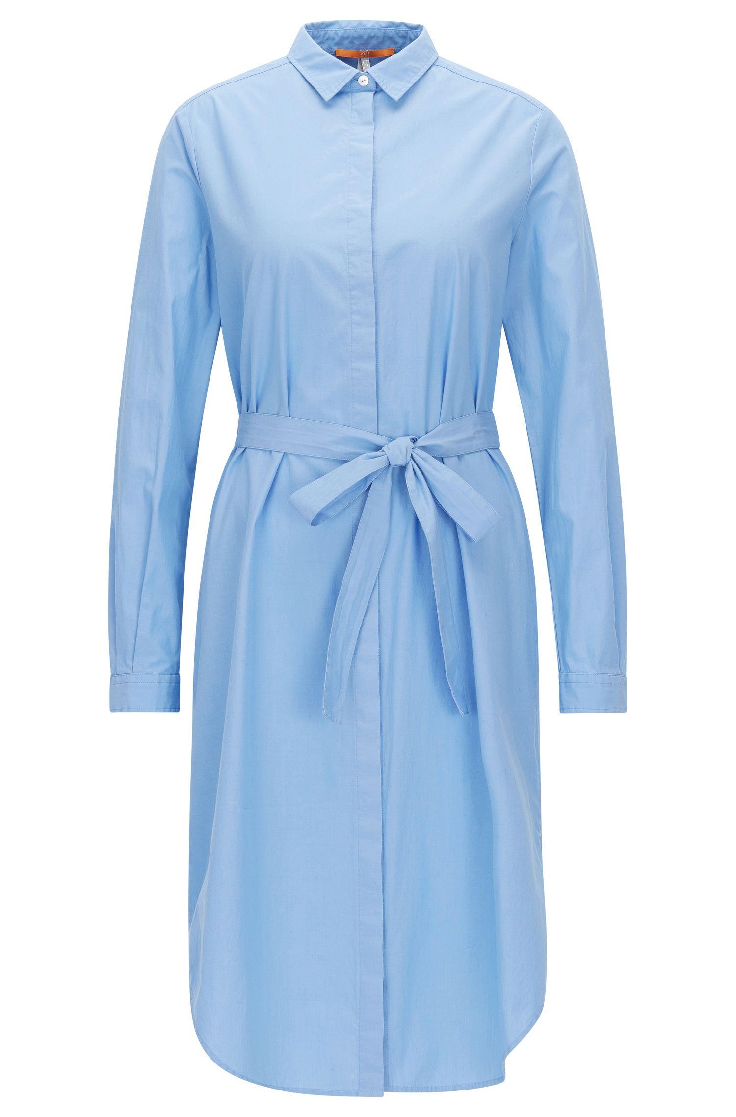 Regular-Fit-Hemdblusenkleid mit Bindegürtel aus elastischer Baumwolle