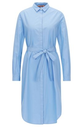 Belted shirt dress in stretch cotton, Blue
