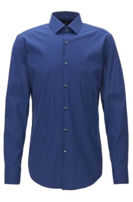 Slim-fit shirt in textured stretch fabric, Blue