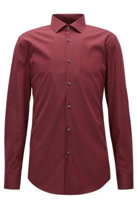Slim-fit shirt in textured stretch fabric, Dark Red
