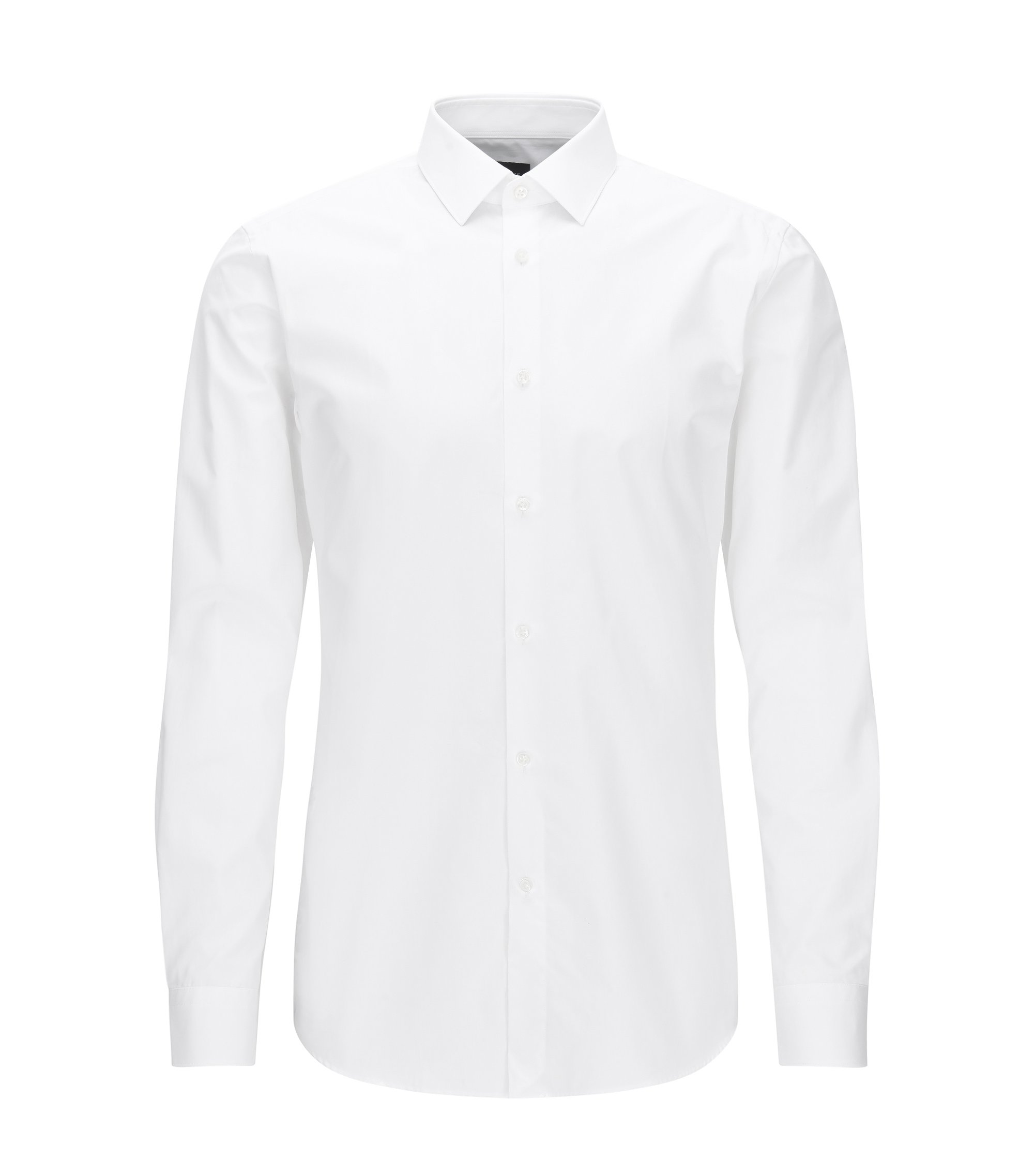Slim-fit shirt in two-ply cotton, White