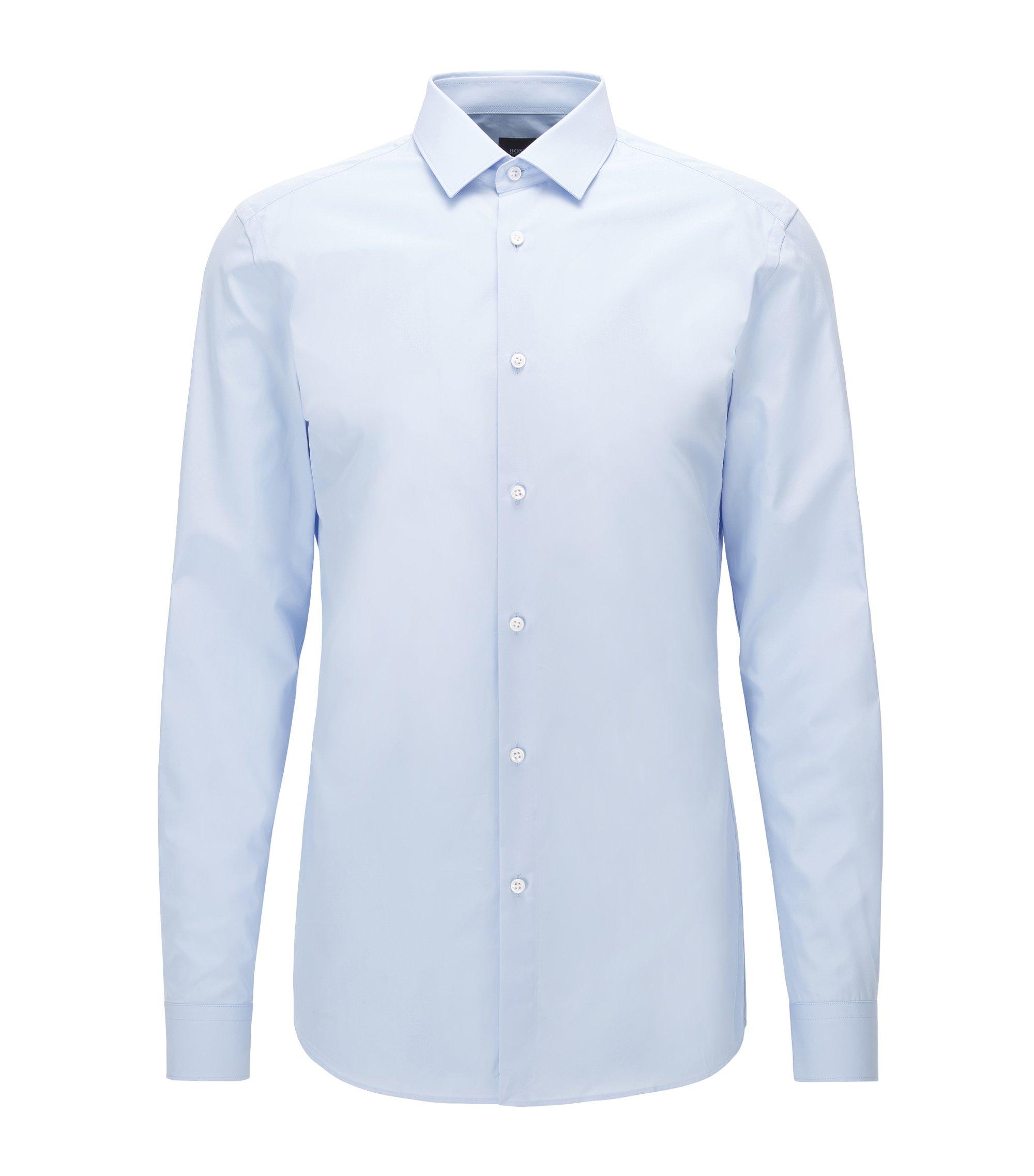 Slim-fit overhemd van Italiaanse katoenen popeline , Lichtblauw