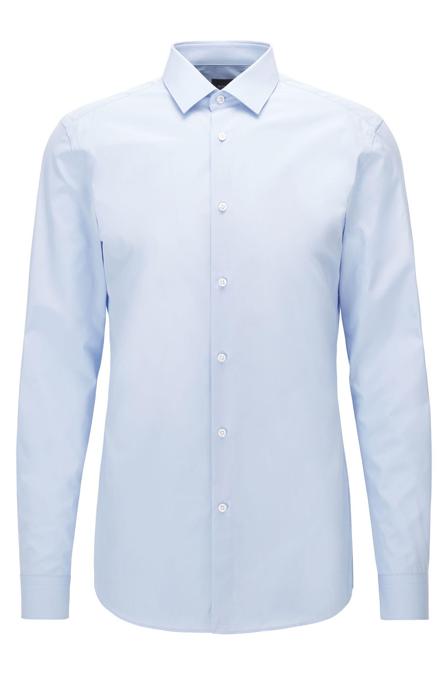 Camisa slim fit en algodón de dos capas