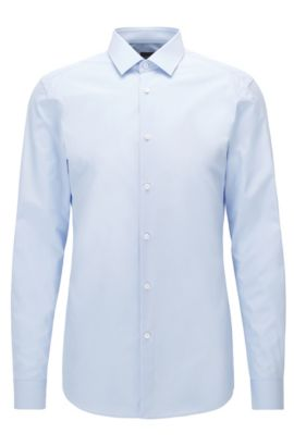 Slim-fit shirt in two-ply cotton, Light Blue