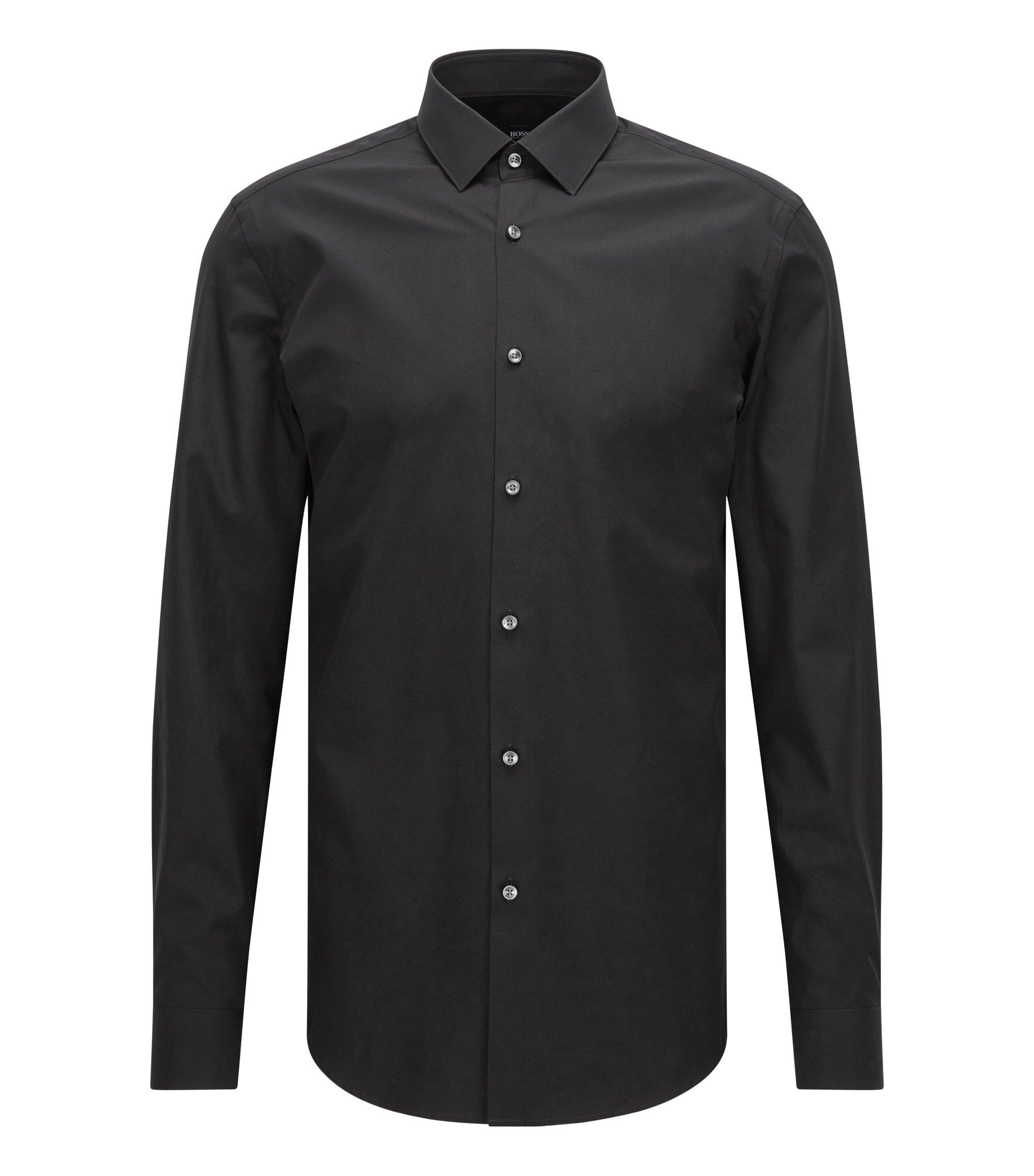 Slim-Fit Hemd aus reiner Baumwolle, Schwarz