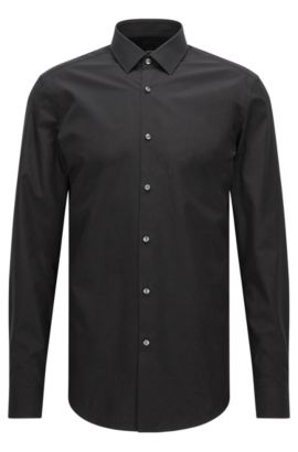 Slim-fit shirt in pure cotton, Black