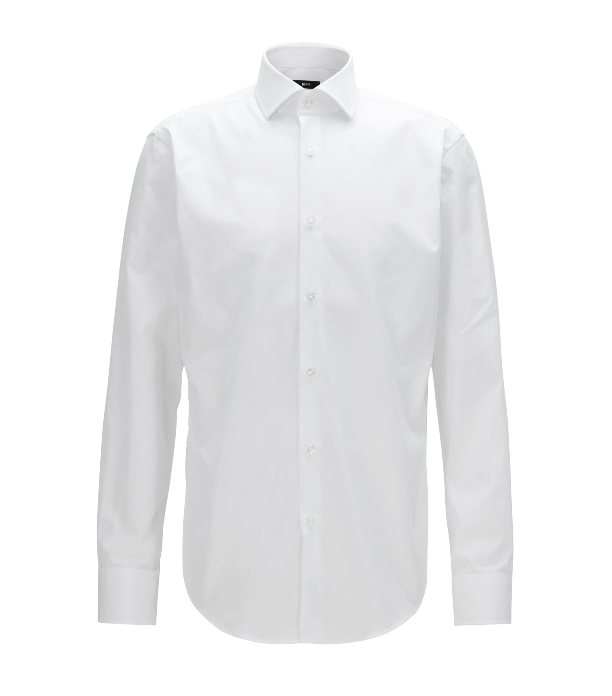 Camisa regular fit en popelín de algodón italiano, Blanco