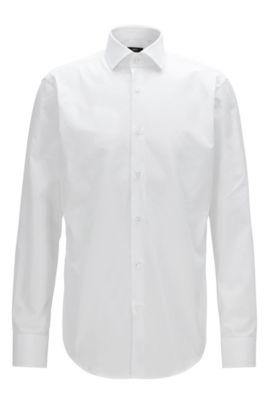 Regular-Fit Hemd aus Vollzwirn-Baumwolle, Weiß