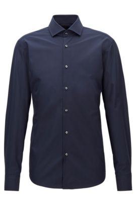Regular-fit overhemd van tweedraadse katoen , Donkerblauw