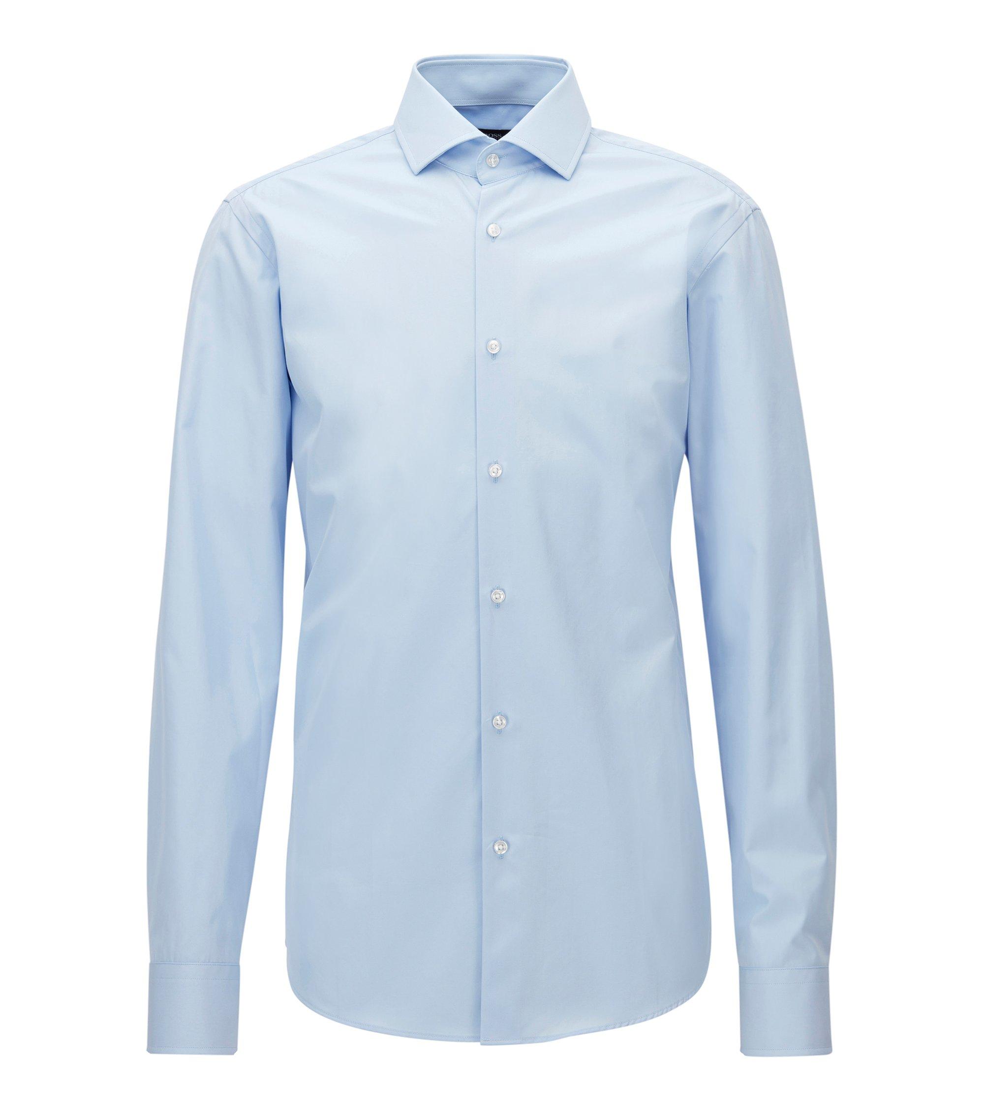 Regular-fit overhemd van Italiaanse katoenen popeline, Lichtblauw