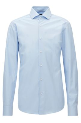 Regular-fit shirt in two-ply cotton , Light Blue