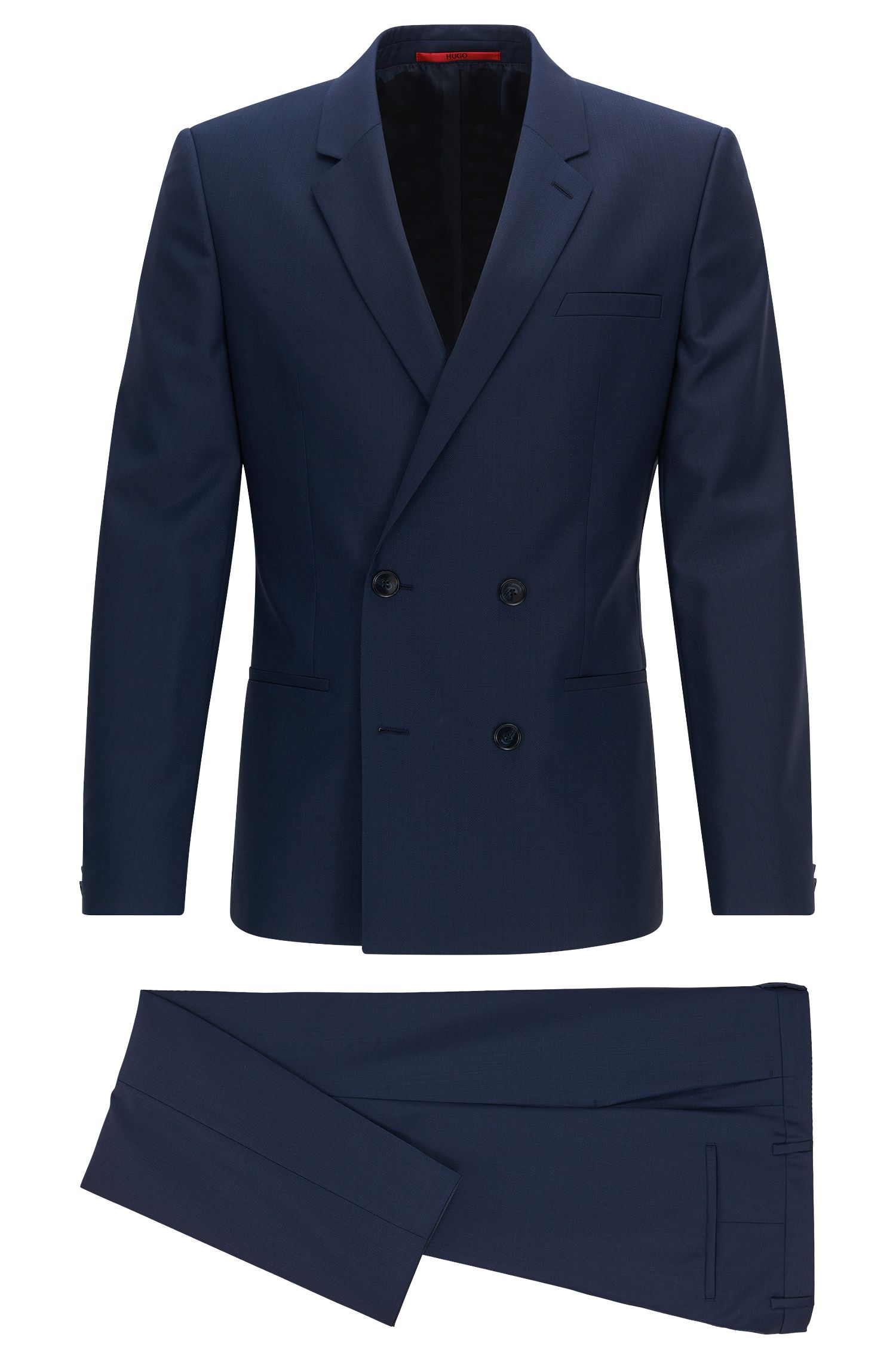 Extra-slim-fit double-breasted suit in virgin wool twill