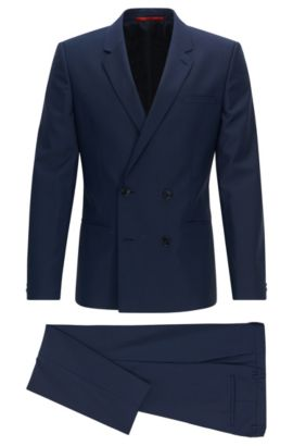 Extra-slim-fit double-breasted suit in virgin wool twill, Dark Blue