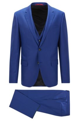 Slim-fit three-piece suit in virgin wool twill, Blue