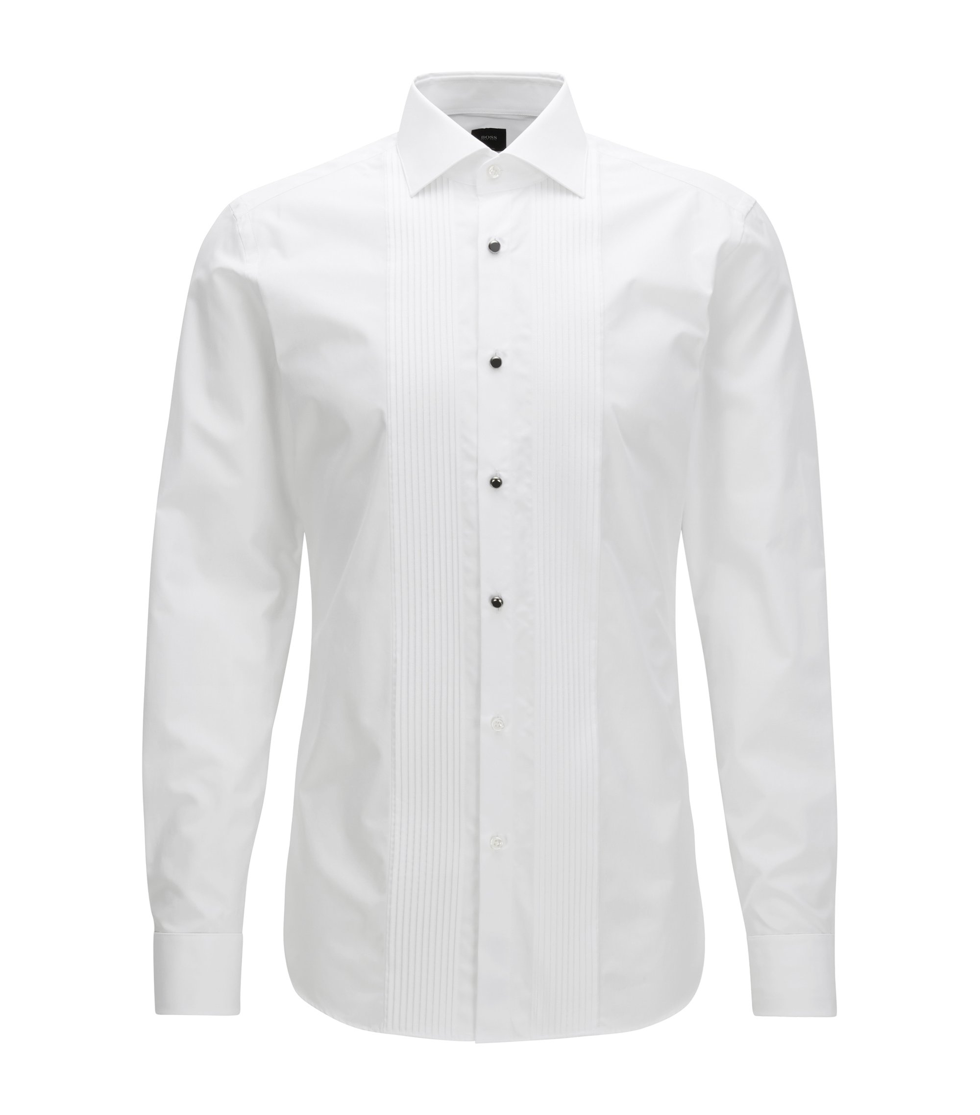 Slim-fit evening shirt in Italian cotton poplin, Weiß