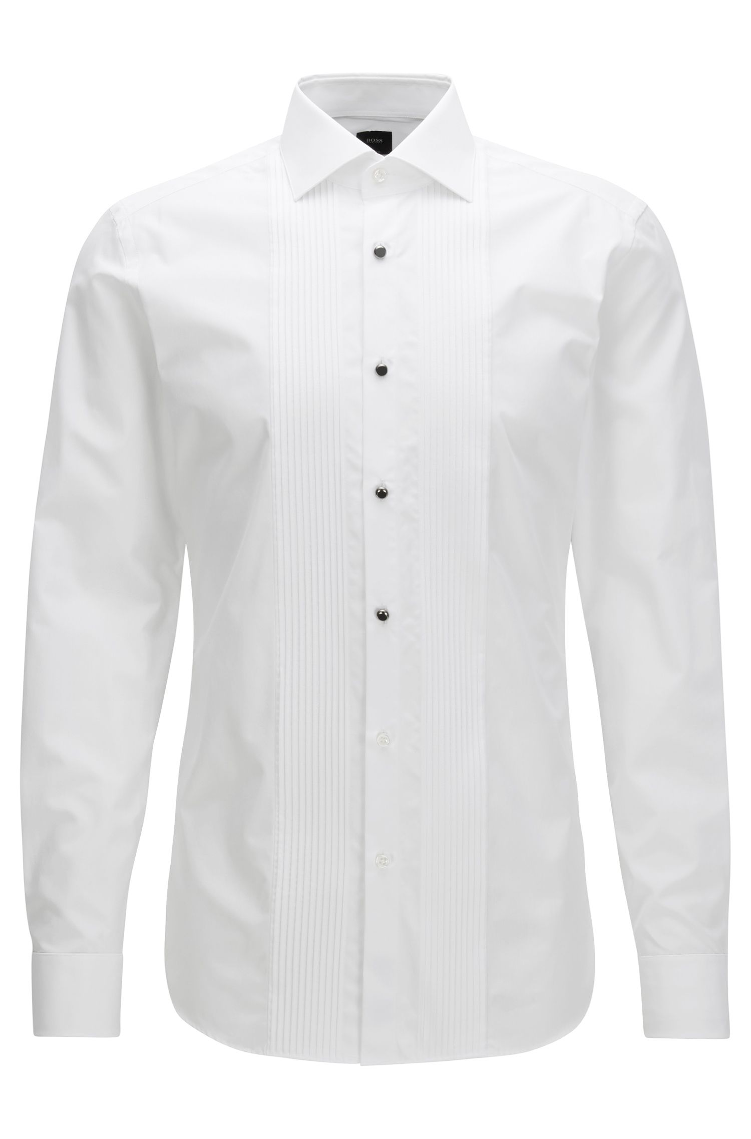 Slim-fit evening shirt in two-ply cotton poplin