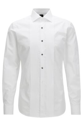 Slim-fit evening shirt in two-ply cotton poplin, Blanc