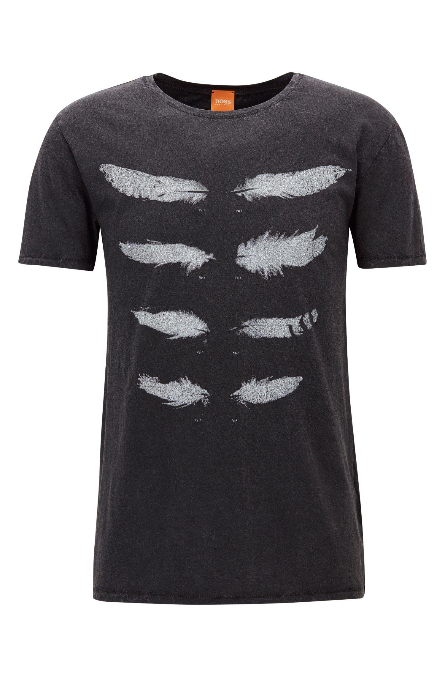 Regular-fit T-shirt in acid-wash jersey