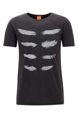 Regular-fit T-shirt van acid-wash jersey, Zwart
