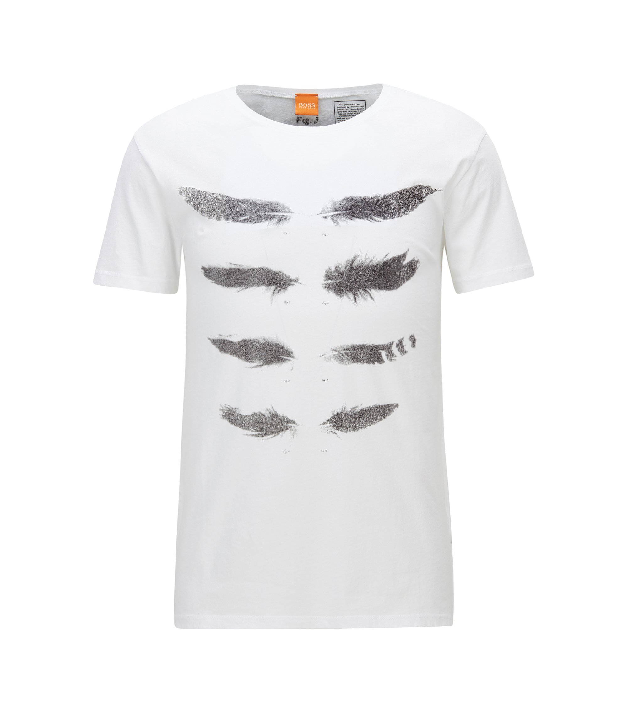 Regular-fit T-shirt in acid-wash jersey, White