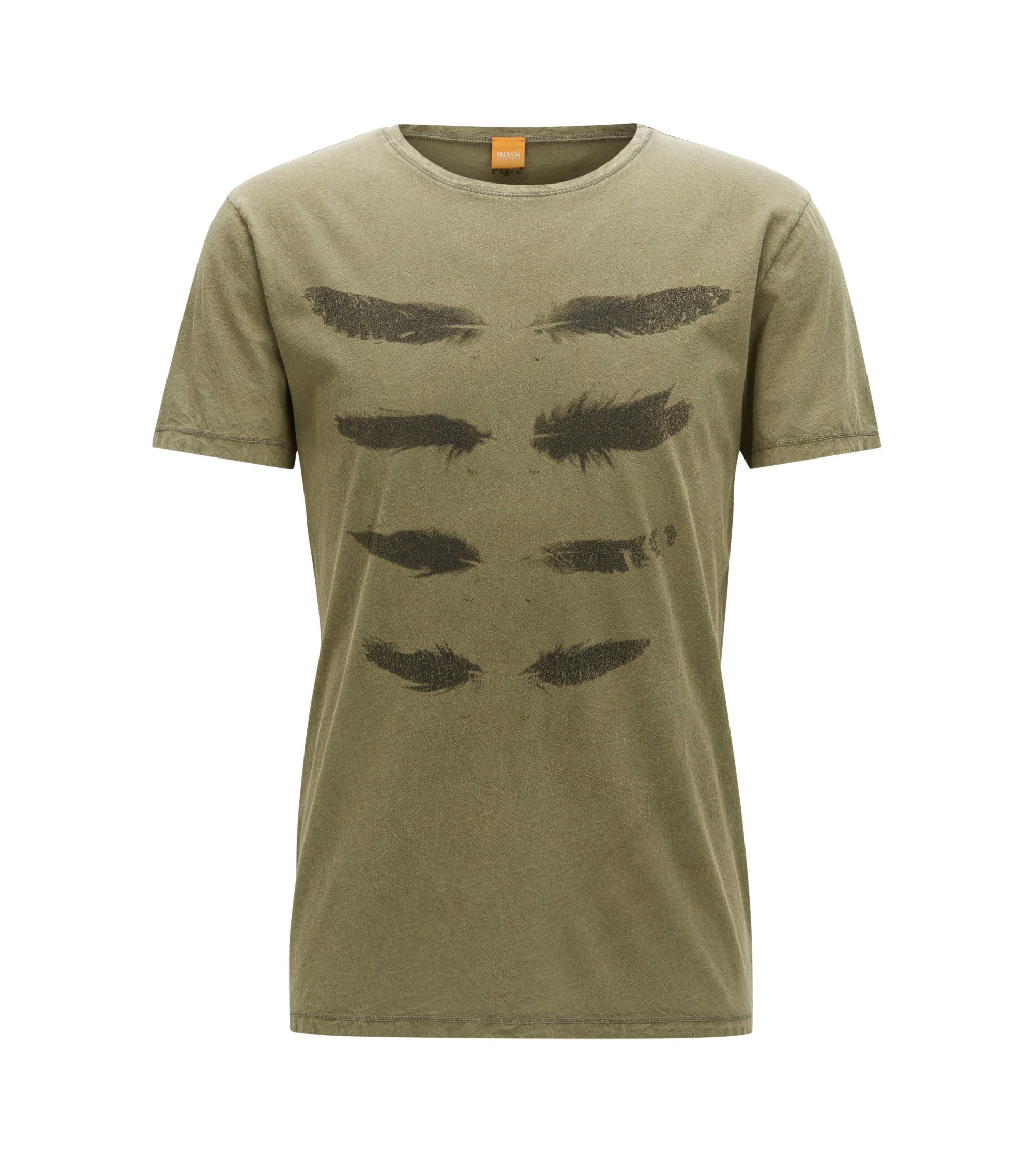 Regular-Fit T-Shirt aus Baumwolle im Used Look, Dunkelgrün