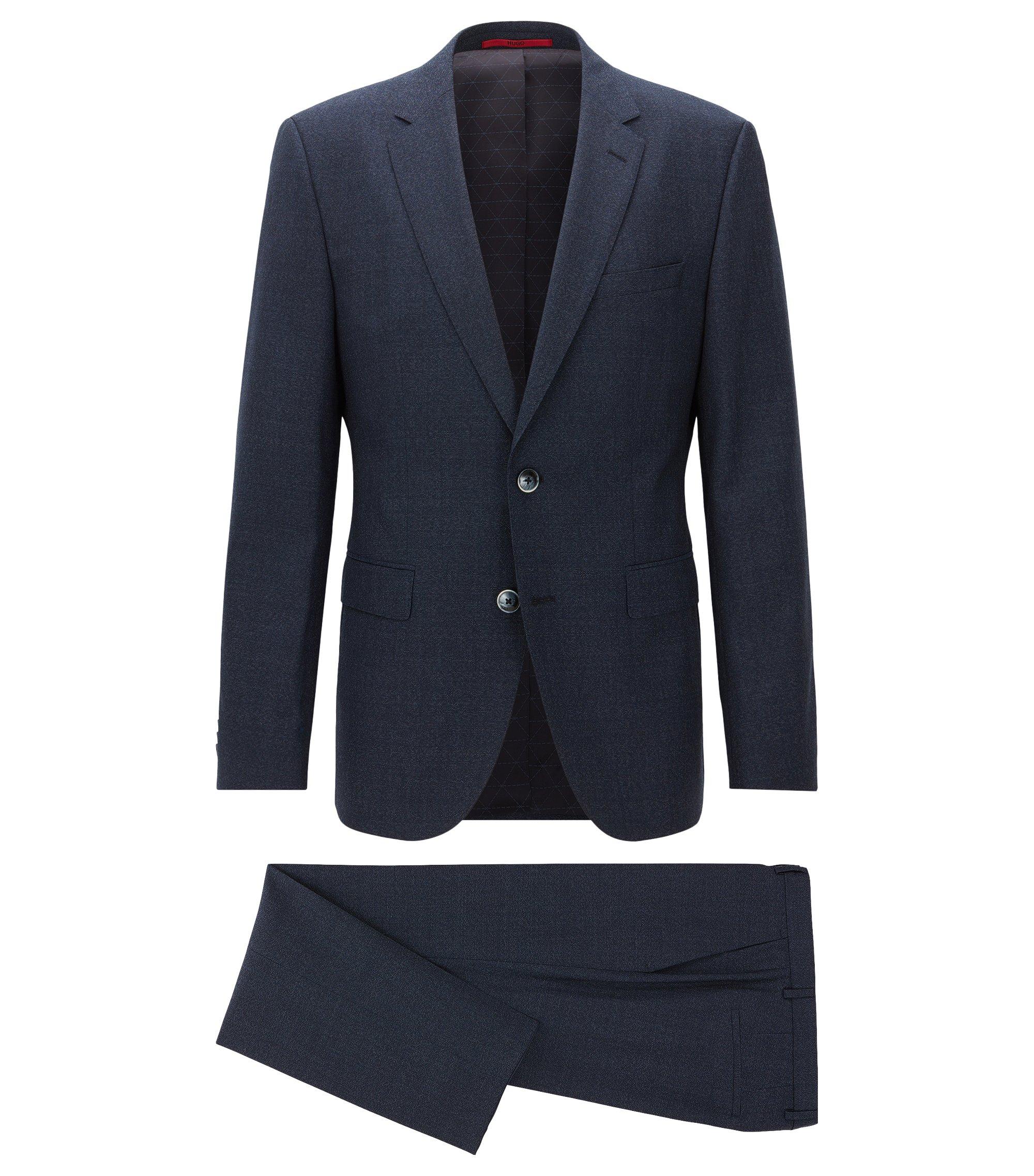 Costume Regular Fit en laine vierge fil à fil, Bleu foncé