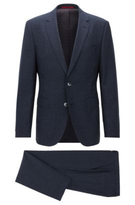 Regular-fit suit in end-on-end virgin wool, Dark Blue