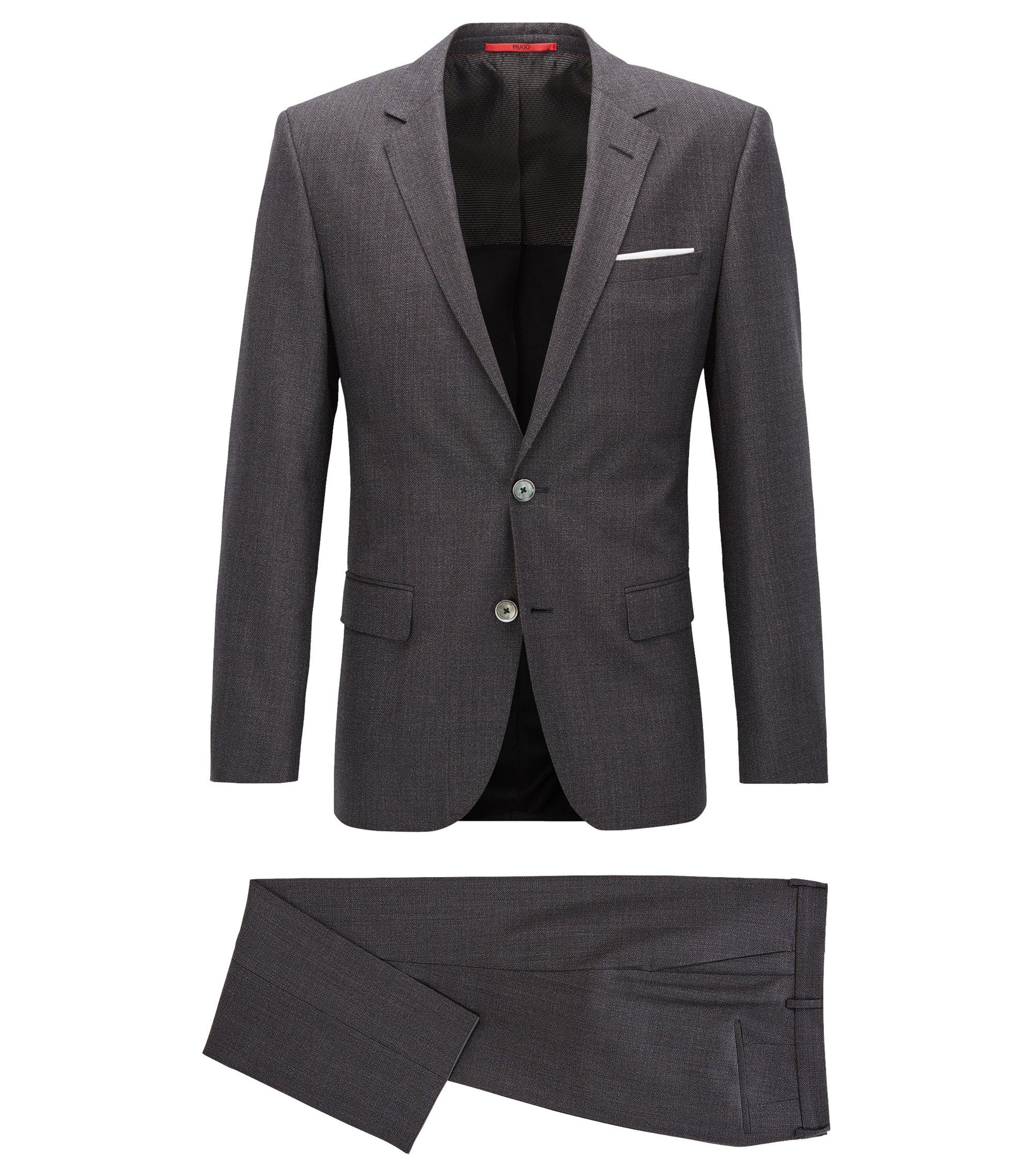 Slim-fit suit in basket-weave virgin wool, Anthracite