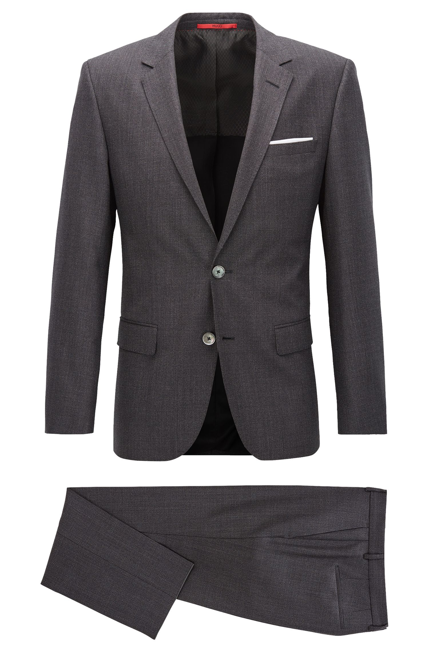 Slim-fit suit in basket-weave virgin wool