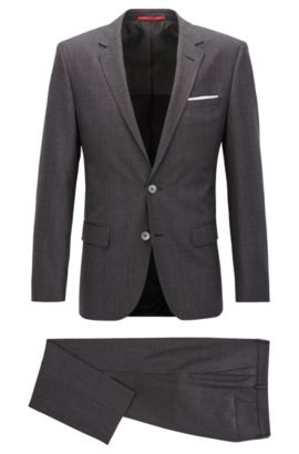 Slim-fit suit in basket-weave virgin wool, Anthracite