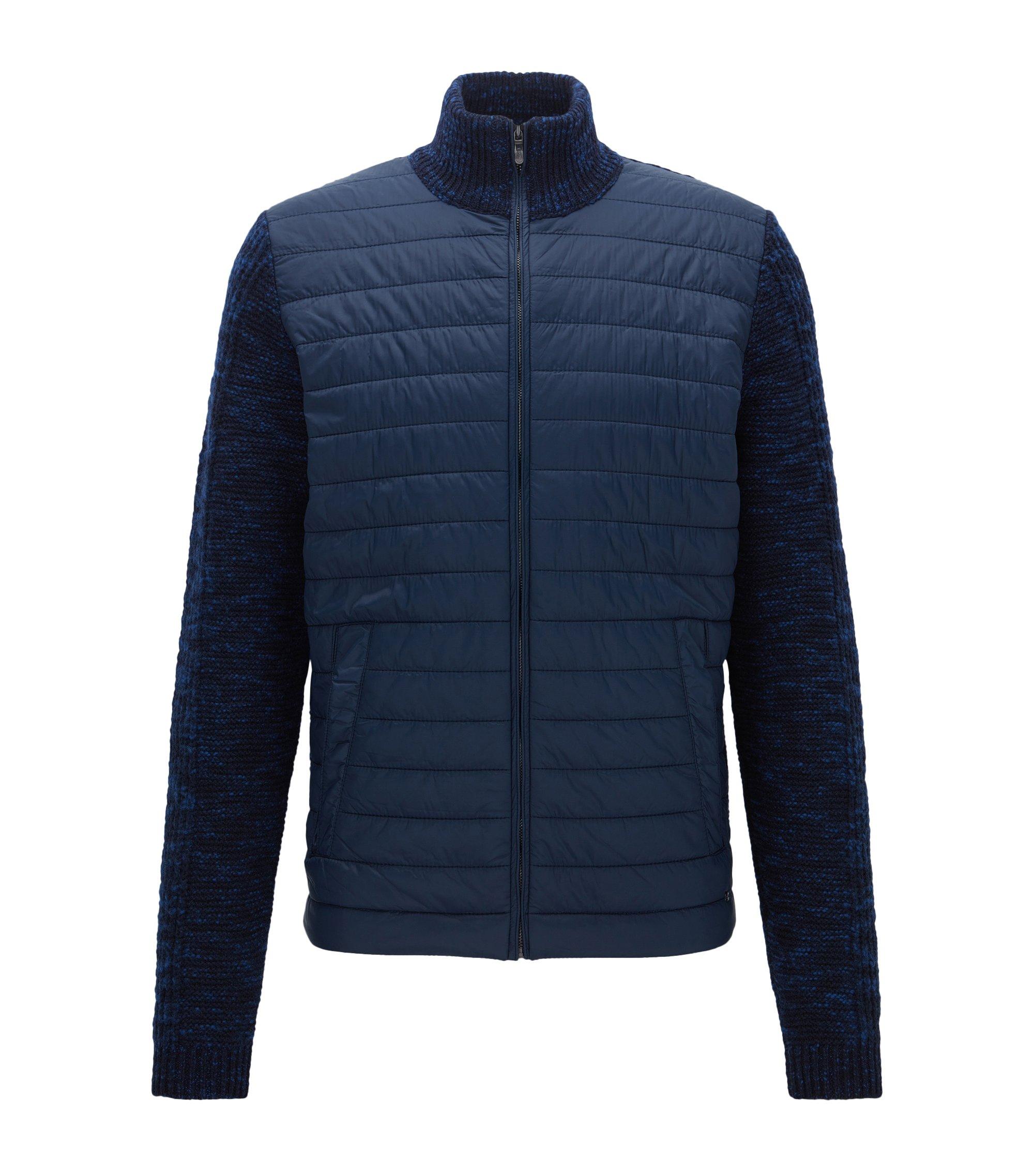 Giacca regular fit con mix di parti in maglia e imbottite, Blu scuro