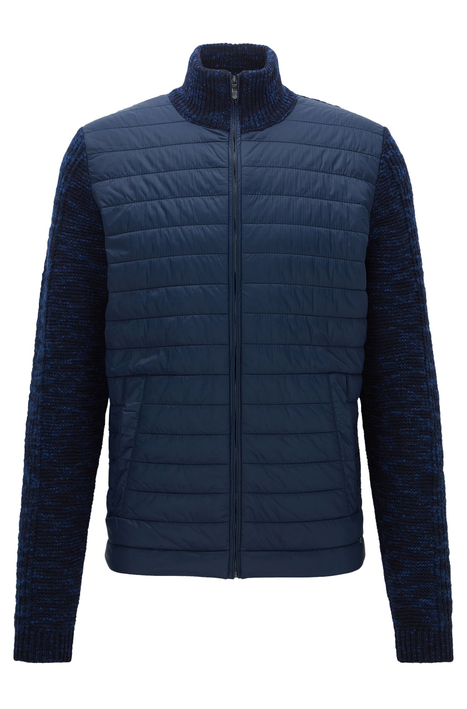 Regular-fit jacket in a knitted and padded mix