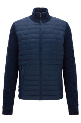 Regular-fit jacket in a knitted and padded mix, Dark Blue