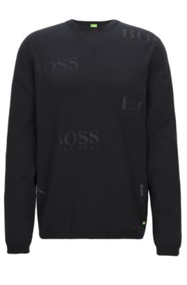 Logo-detailed sweater in technical fabric, Black