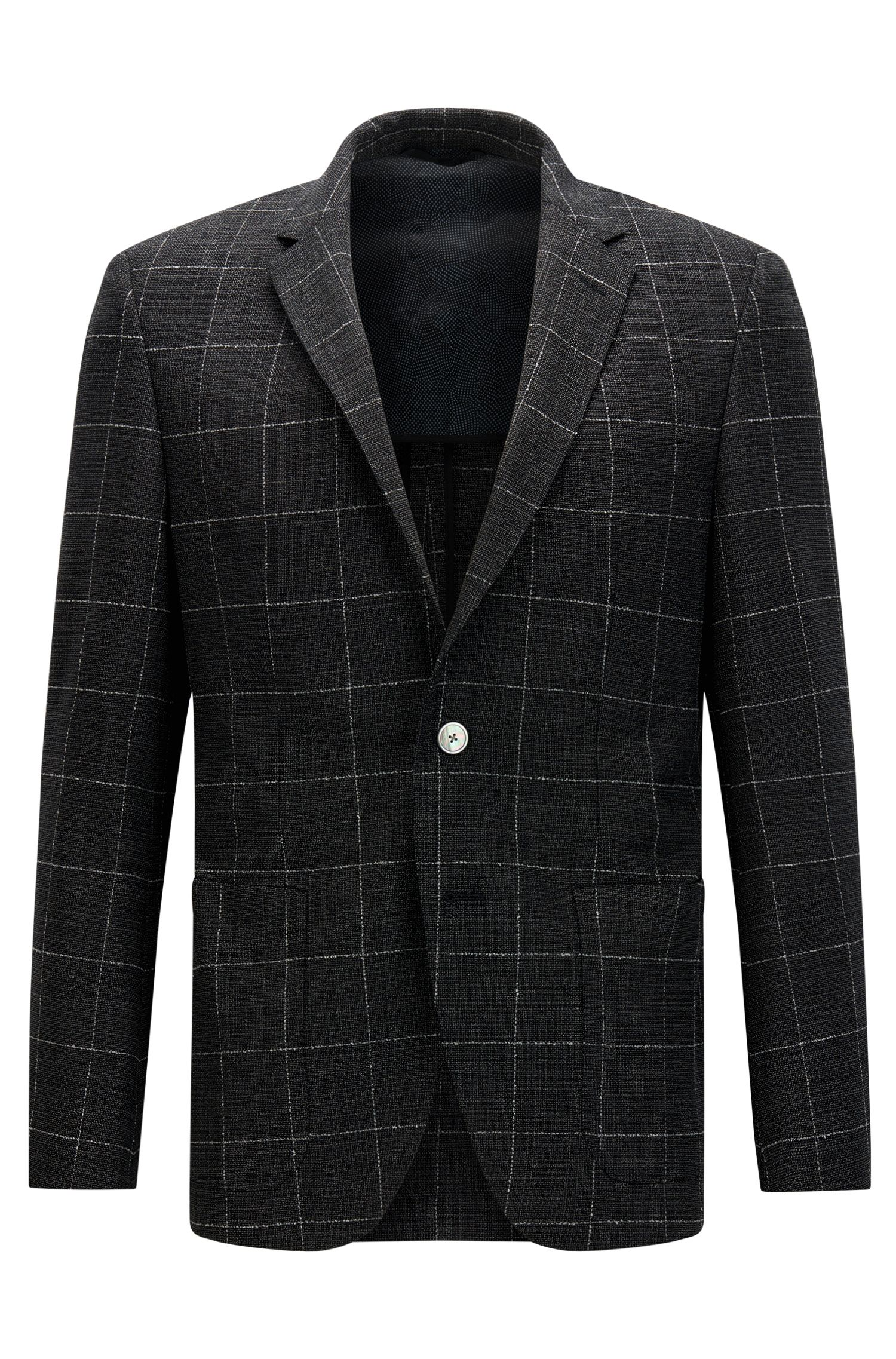 Regular-fit jacket in checked stretch virgin wool