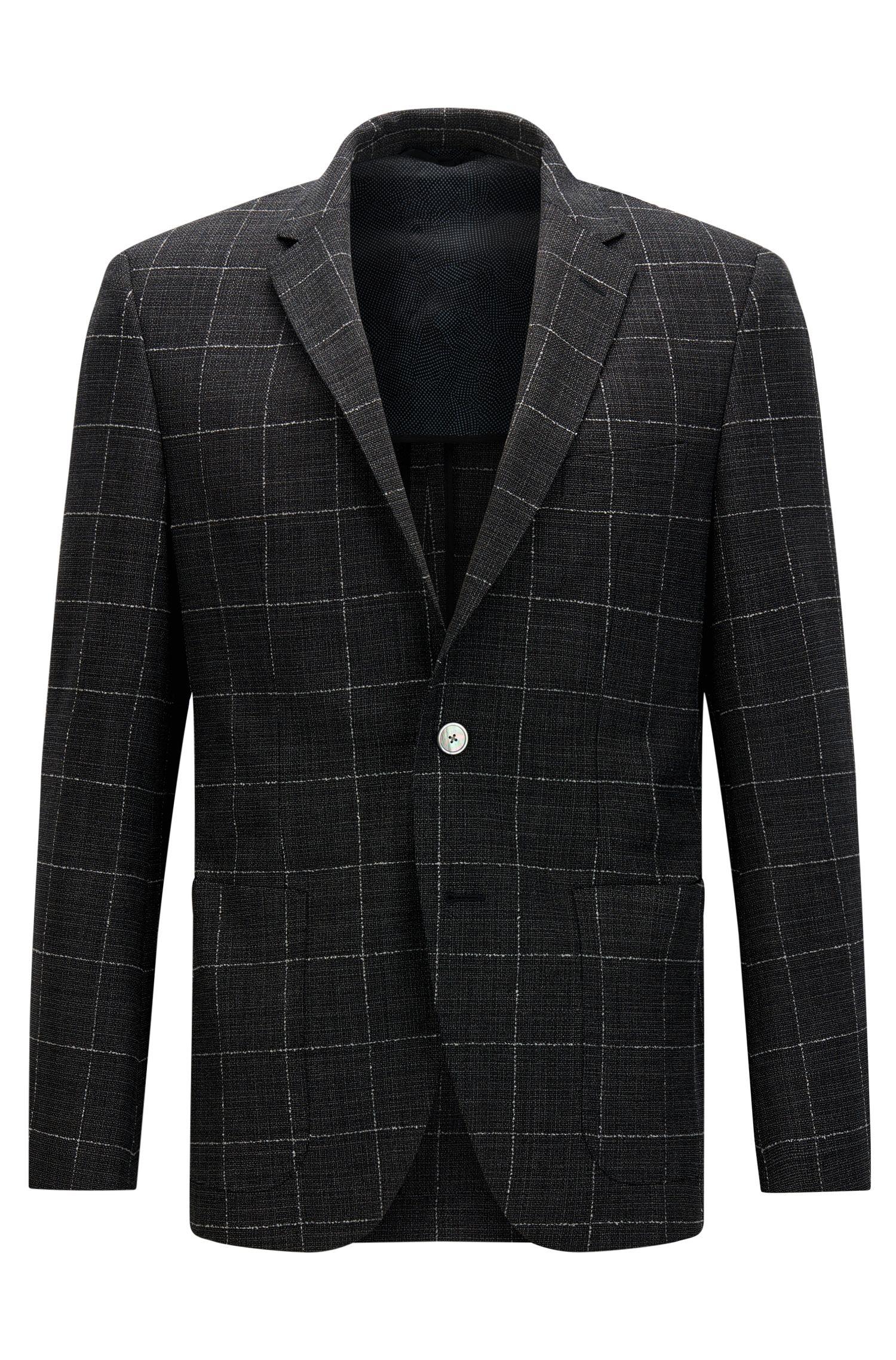 Giacca regular fit in lana vergine elasticizzata a quadri