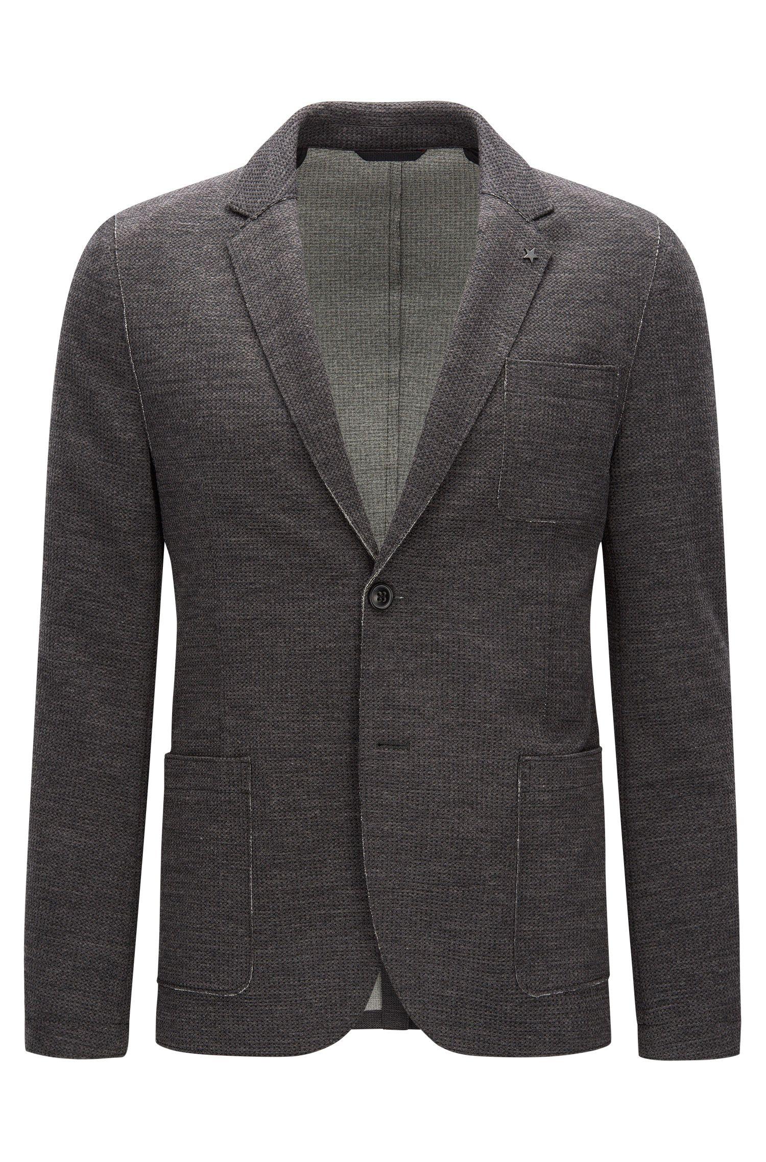 Slim-fit raw-edged jacket in a waffle fabric