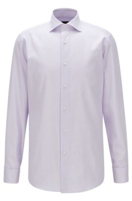 Regular-fit shirt in micro-structure cotton, Light Purple